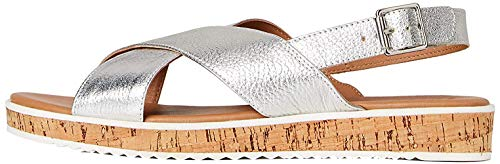 find. Crossover Cork Sole Leather Plateausandalen Silber Silver), 37 EU