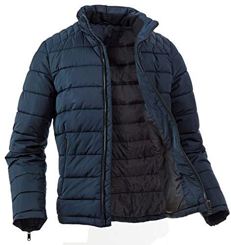 Giubbotto Piumino Uomo Invernale Imbottito Giacca Cappotto Casual Elegante 200 Grammi Slim Fit con Cappucio Inverno 2020 (L, Blu)