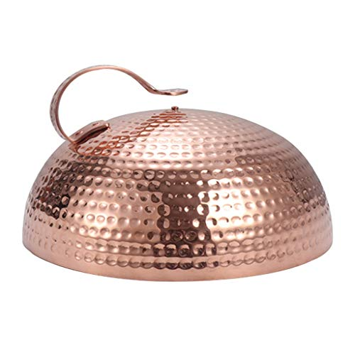 "Universal Lid Stainless Steel 9.4"" Round Basting Cover/Cheese Melting Dome Cover Best for Flat Top Griddle Grill and Other Grills Pan Lids (Color : Rose gold, Size : 28cm)"