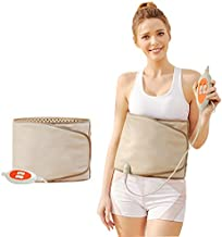 PinJaze Electric Slimming Belt-with Hot Compress and Vibration Function-360° Full Circle Heating-Help Relieve Back and Waist Pain-50×11 Inches PU Material (Grey, 110V US Plug)