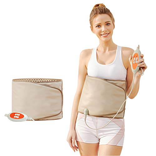 Electric Belt-with Hot Compress and Vibration Function-360° Full Circle Heating-Help Relieve Back and Waist Pain-50×11 Inches PU Material,Plug Use,2.86Lb (Grey, 110V US Plug)