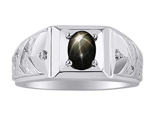 Rylos Classic Weave Schöner schwarzer Sternsaphir & Diamantring