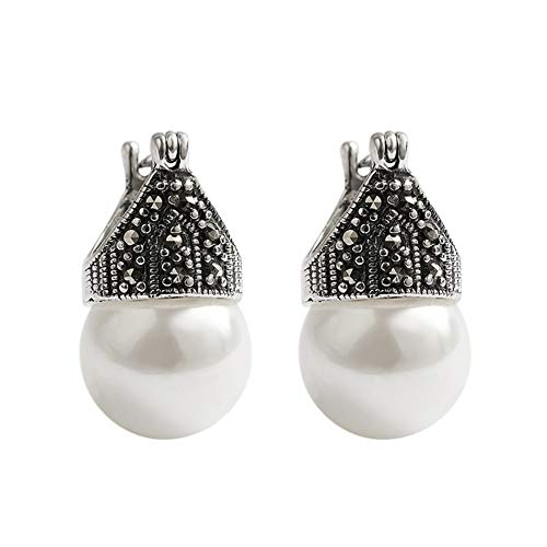 Cestbon 925 Sterling Silber Ohrringe Perlenohrring Weiße Muschelkern-Perlen Ohrhänger Tropfen Ohrringe Schmuck, Handgemachte Einzigartige Schmuck Für Frauen Und Mädchen,Weiß