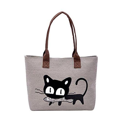 Sac à main, FeiTong Mode féminine bandoulière sac de toile Chat mignon Sac Lunch Bag (Gris)