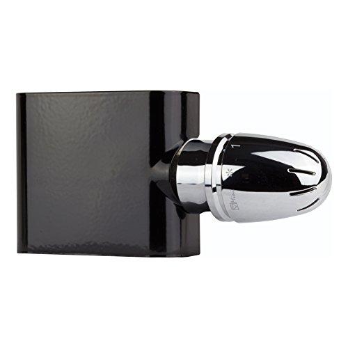Ventil-Armaturen Set Multiblock Universal Eck für Heizkörper mit Mittelanschluss inkl. Thermostatkopf schwarz Einrohr