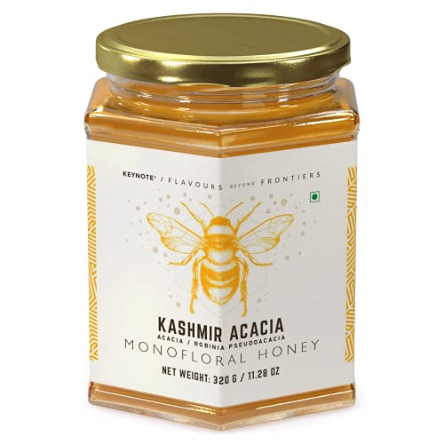 Keynote Rare Honey Collection / Kashmir Acacia / Pure Raw (May Crystallize) Unpasteurized Unprocessed Unfiltered Organic / Glass Jar of 320 Grams