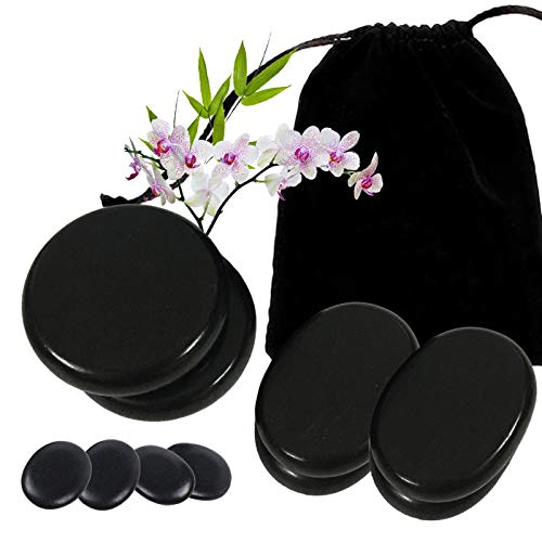10 Pcs Hot Massage Stones   Natural Basalt Stones, Warmer Heated Rocks for Professional or Home Relaxation Body Massage, for Healing, Pain Relief, SPA Massage Therapy
