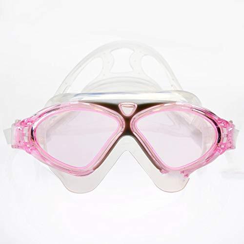 YYLSHCYHLI Gafas de natación Gafas de natación Gafas de Agua Cinturón de Silicona Gafas Grandes subacuáticas Antivaho Impermeable Deporte Pinkred