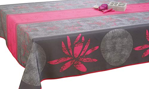 Le linge de Jules Nappe Anti-Taches Lotus Fuchsia - Taille : Rectangle 150x200 cm