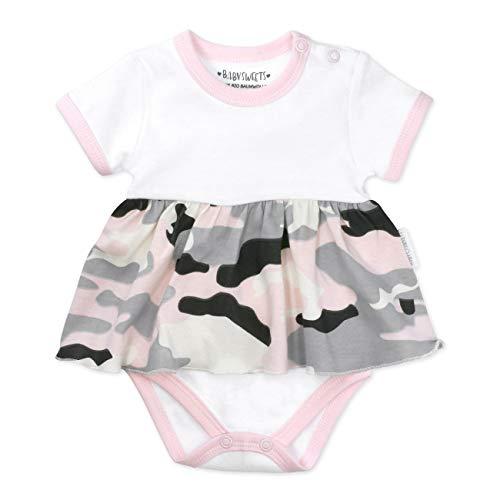 Baby Sweets Baby Mädchen Body-Kleid in Rosa-Weiß-Grau im Motiv Too Cute for You im Camouflage Print für Neugeborene und Kleinkinder/Kurzarmbody-Kleid für Mädchen in der Größe: 3-6 Monate (68)