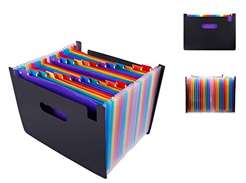 24 Pockets Expanding File Folder Multicolored A4 Size Expandable File Organizer Accordion Stand File Folder Wallet Briefcase Receipt Organizer No Cover (Multicolored,24 Pockets)