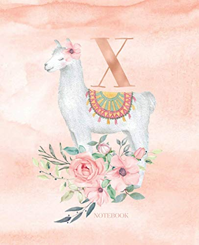 Notebook: Llama Alpaca Notebook Journal Rose Gold Monogram Letter X Watercolor with...