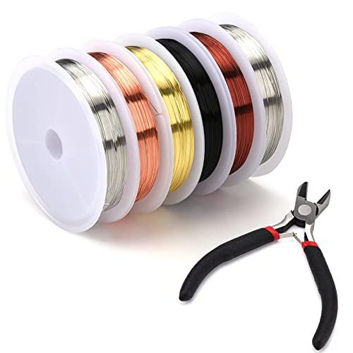 Aoliandatong Alambre de joyería – 6 rollos alambre cobre multicolor con pinzas para joyas, 0,3 mm x 20 m rollo desnudo, perlas manualidades, perlas, bisutería, fabricación joyas