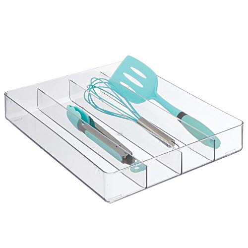 mDesign Plastic Kitchen Cabinet Drawer Storage Organizer Tray - for Storing Organizing Cutlery, Spoons, Cooking Utensils, Gadgets - 4 Divided Compartments - Clear