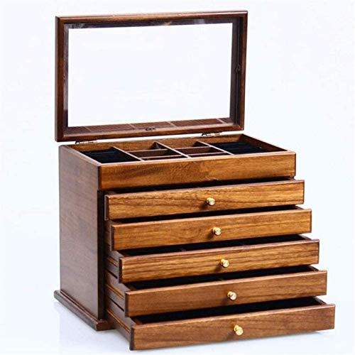 OH Caja de Alenamiento Multifuncional de Joyería con Espejo Vintage Joyería Caja de Joyería Caja de Alenamiento de Madera Joyas Retro Cajas Seguro y fuerte/Blanco / 32×20.5×24cm