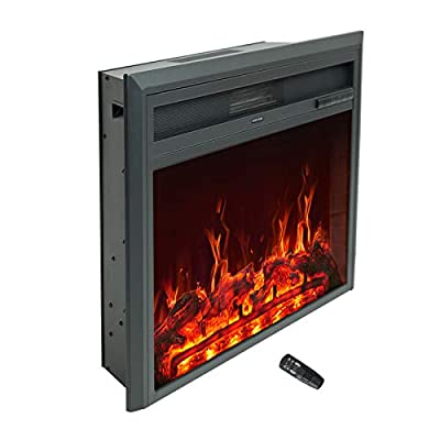 C-Hopetree Electric Fireplace Insert, Portable Free-Standing Heater, 750/1500w incl Remote Control & Timer, 32 Inch Wide