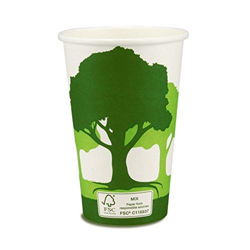 pack2go Premium Kaffeebecher - 12oz, 300ml, FSC-Zertifiziert, Coffee to go Becher Green Nature, Heißgetränke-Pappbecher, Hot Cup aus Hartpapier, 1000 Stück