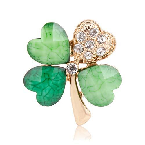 Jfsmgs Broche Cristal de Hoja Verde Claro Broche irlandés Cuello de Solapa Pines para Hombres o Mujeres