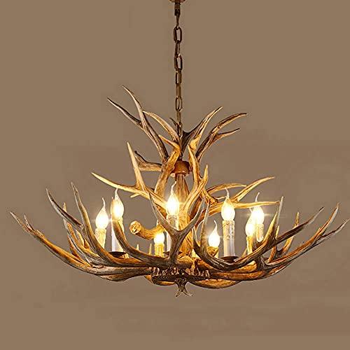 Araña de cuerno de ciervo, 8 luces rústicas, de resina para la isla de la cocina, comedor, vestíbulo, estudio, chandelier Lighting