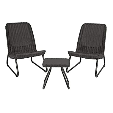 Keter Rio 3 Pc All Weather Outdoor Patio Garden Conversation Chair & Table Set Furniture, Grey