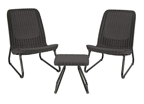 Keter Rio 3 Piece Resin Wicker Patio Furniture Set with Side Table and Outdoor Chairs, Dark Grey