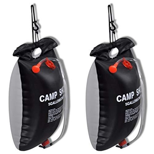 GOTOP Ducha de Campamento, 2 Unidades, 20 L, Bolsa de Ducha portátil con calefacción Solar, para Camping, Senderismo, Viajes, Escalada
