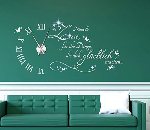 tjapalo® w-pkm471 Wanduhr Wandtattoo Uhr Wohnzimmer Wandsticker Spruch - Nimm dir Zeit für die Dinge die dich Glücklich machen mit Uhrwerk und Kristallen