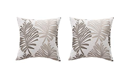 2 fundas de cojín de 45 x 45 cm, de lino, con cremallera invisible, para sofá, interior y exterior, color gris plateado