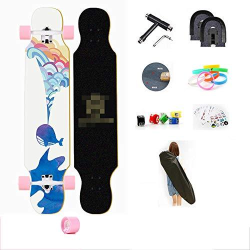 YSCYLY Kinder Retro Skateboard,Longboard 107cm Skateboard,Longboard Junge MäDchen Pinsel Street Dance Board