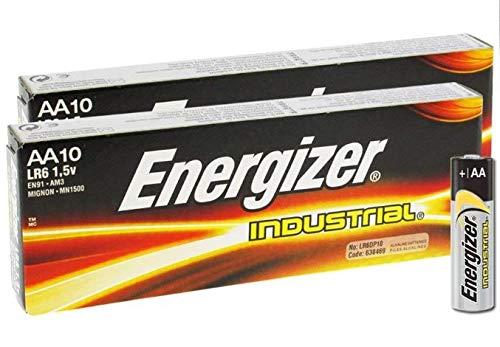 Energizer LR6 AA Industrial EN91 Größe MN1500 Power Seal Batterie, 1,5 V, alltägliche Alkaline, allgemeine Zwecke, langlebige echte Industrielle Batterien, 20 Stück