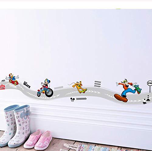 Cartoon Mickey Goofy Donald Duck Skateboard Sport Wandaufkleber Für Kinderzimmer Wandkunst Dekor Poster Diy Removable Decals