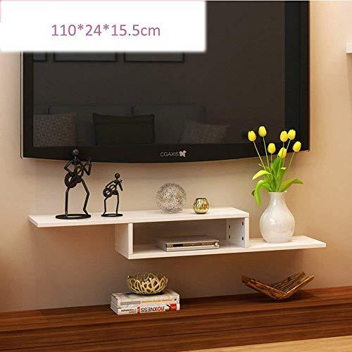 YZjk 2 Tier Moderne Wandhalterung Floating Shelf TV-Konsole für Kabelboxen/Router/Fernbedienungen/DVD-Player/Spielekonsolen Wandfernseher (Farbe: Schwarz)