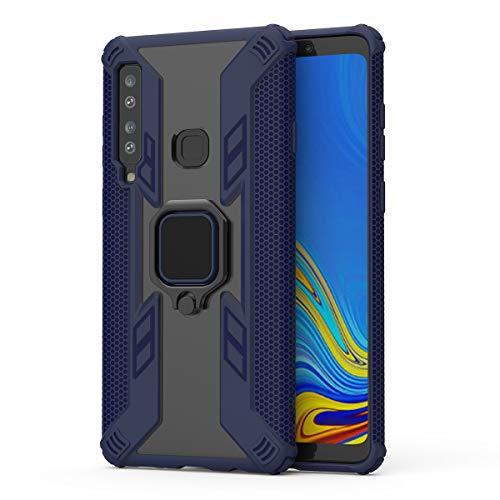UBERANT Capa para Galaxy A9s, com anel de rotação de 360° e emblema de metal magnético TPU macio + capa protetora de policarbonato rígido à prova de choque para Samsung Galaxy A9 2018 / A9 Star Pro - Azul marinho