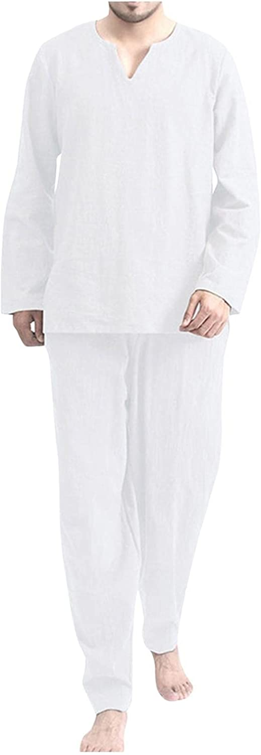 Burband Mens Casual 2 Pieces Loose Outfit Sets Cotton Linen Hippie Long Sleeve V Neck Beach Yoga Tops and Lounge Pants