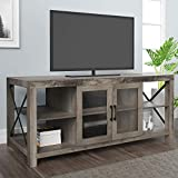 LGHM TV Stand,Entertainment Center for 65 inch TVs, 58' Modern Farmhouse Wood TV Stand with Glass Doors & Metal X-Shaped, Ideal Media Storage with Open Shelves for Living Room, Bedroom, Gray Wash