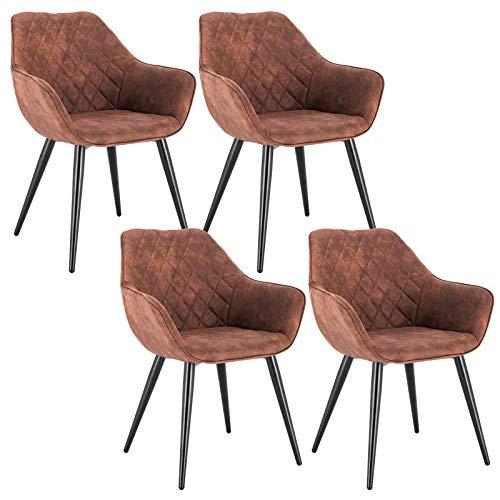 WOLTU Esszimmerstühle BH231br-4 4er Set Küchenstühle Wohnzimmerstuhl Polsterstuhl Design Stuhl mit Armlehne Braun Gestell aus Stahl Stoffbezug