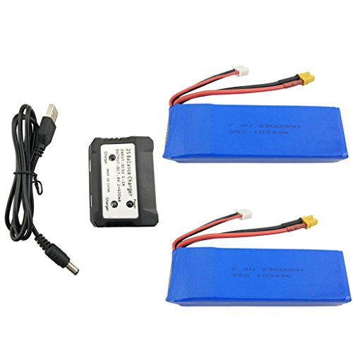 sea jump 2PCS 7.4V 2300mah Lithium Battery + 1in2 Charger for MJX B6 B6W B6F B6FD B8 Bugs 6 Bugs 8 Brushless Quadcopter Upgrade Accessories Remote Drone Upgrade Battery