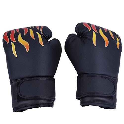 GLOGLOW 3 Farben PU Kinder Boxhandschuhe Kinder Cartoon MMA Sparring Trainingshandschuhe Atmungsaktive Muay Thai Sandsack Handschuhe(Schwarz)