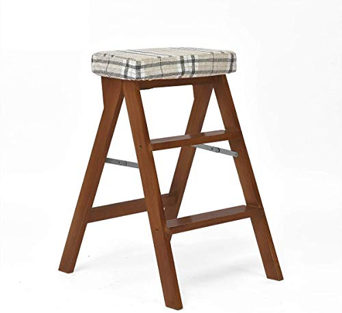DNSJB Trapladder/ladder/klapstoel met drie treden, houten stapel, hoge kruk, hoogte van huishoudelijke gereedschap, 65 cm, intensief gebruik max. 120 kg in bruin
