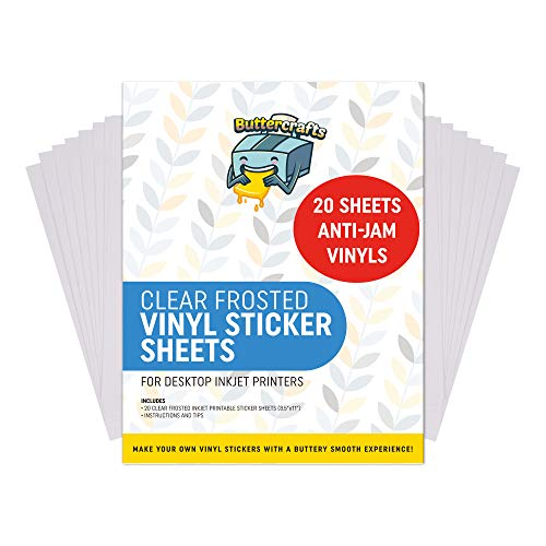 Frosted Clear Printable Vinyl for Inkjet Printer (Clear Sticker Paper | Waterproof | 20 Sheets) - Transparent Inkjet Printable Vinyl Sticker Paper Avoid Jams | Transparent Sticker Paper