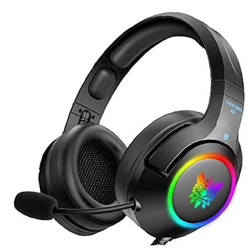 YepYes Auricular para Juegos de PC del Juego de Auriculares con micrófono estéreo Overear LED del Auricular Negro cancelación de Ruido sobre los Auriculares del oído