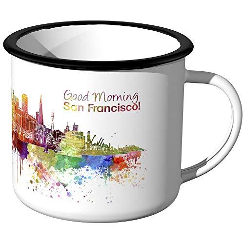 JUNIWORDS Emaille-Tasse, Guten Morgen San Francisco, Skyline Aquarell, Schwarzer Tassenrand