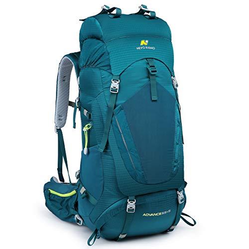 N NEVO RHINO Hiking Backpack, 40L/50L/60L/70L/80L Waterproof Camping Backpacking Daypack (Green 60L, (55+5) L)