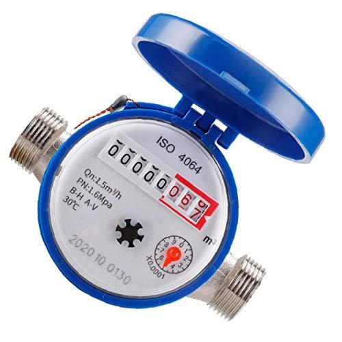 Sanfiyya Medidor de Flujo de Agua fría con Accesorios de 15 mm 1/2 Pulgadas Contador de rotaciones para el hogar de Uso Herramientas de Jardín Accesorios Industriales
