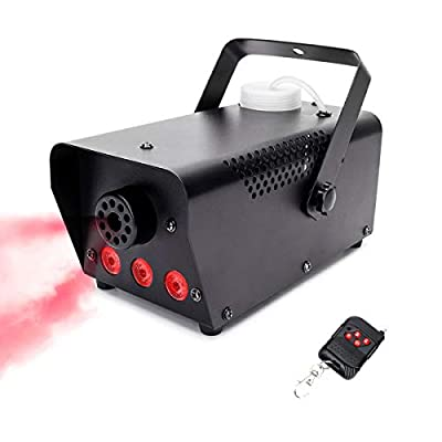 U`King Fog Machine with LED Lights DJ Disco Smoke Machine 500W 3 Color Wireless Remote Portable Mist Machine for Halloween Wedding Christmas Party Club Light Stage Effect