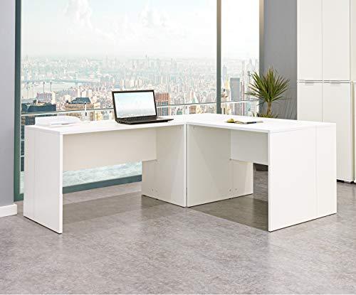 Eckschreibtisch weiß - Schreibtisch Kinder - PC Tisch- [Funktional und Robust] Ecktisch - Bürotisch - Arbeitstisch - In Weiß ca.: B 185/185 x H 75 x T 75 cm | Büro Möbel