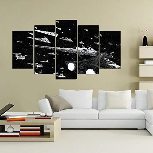 YHNM 5 Cuadros de Lienzo enmarcados,Flota del Imperio,Cuadros Modernos Impresión de Imagen Artística Digitalizada | Decorativopara Salón o Dormitorio