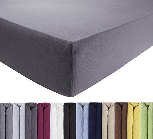 ENTSPANNO Jersey Spannbettlaken für Wasser- und Boxspringbett in Licht-Grau aus Baumwolle. Spannbetttuch mit Einlaufschutz, 180 x 200 | 200 x 200 | 200 x 220 cm, bis 40 cm hohe Matratzen