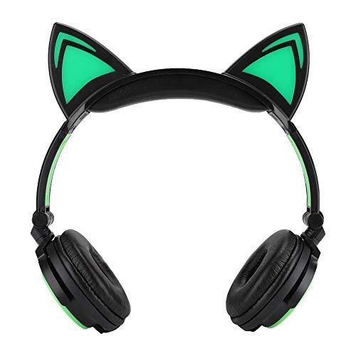 Garsent hoofdtelefoon voor kinderen muziek headset schattige kattenoor led licht muziek hoofdtelefoon opvouwbare headset voor mobiele telefoon computer bekabelde hoofdtelefoon cadeau voor kinderen, groen