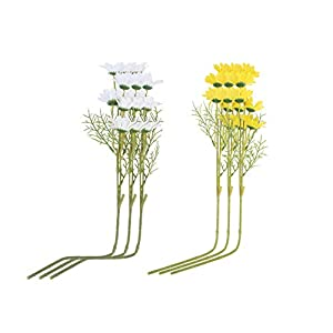 VALICLUD 6pcs Artificial Daisy Flower Simulated Holland Chrysanthemum Cosmos Plant Decor for Wedding Party Stage Centerpieces Windowsill Yellow White